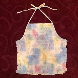 American Eagle Tie Died Ruched Halter Top Small